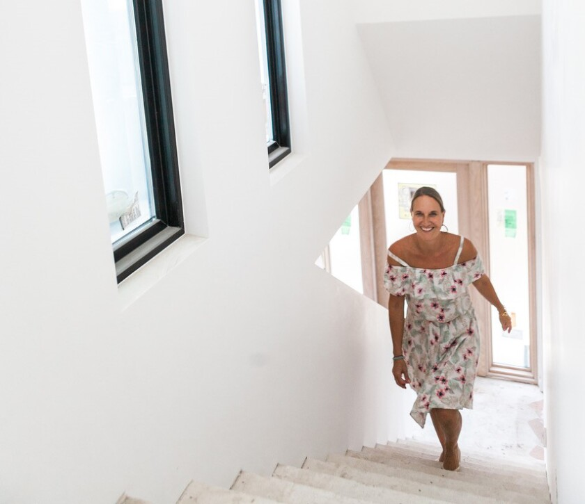 Designer and B&B owner Anke Bodack on the stairs of the Twelve Senses Retreat.