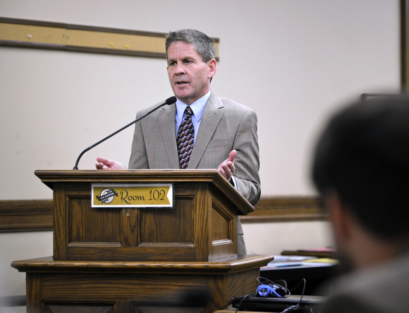 """FILE - In this Nov. 13, 2018 file photo, Montana Secretary of State Corey Stapleton testifies before an interim legislative committee in Helena, Mont. Stapleton put tens of thousands of miles on a state-owned pickup truck and used it extensively during weekends and holidays in addition to other travel that legislative auditors said violated state policy, an Associated Press review of government documents found. Stapleton's office did not respond to requests for comment on his travel outside of official events and his """"teleworking"""" at his home in Billings. (Thom Bridge/Independent Record, File)"""