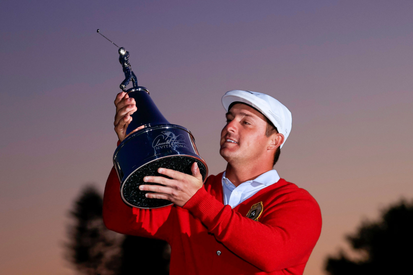 Bryson DeChambeau celebrates after winning the Arnold Palmer Invitational at the Bay Hill Club and Lodge on Sunday.