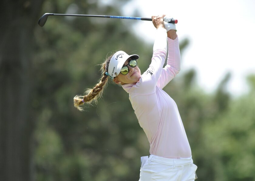 Belen Mozo, of Spain, hits from the second tee during the final round of the LPGA Volvik Championship golf tournament at the Travis Pointe Country Club, Sunday, May 29, 2016 in Ann Arbor, Mich. (AP Photo/Jose Juarez)
