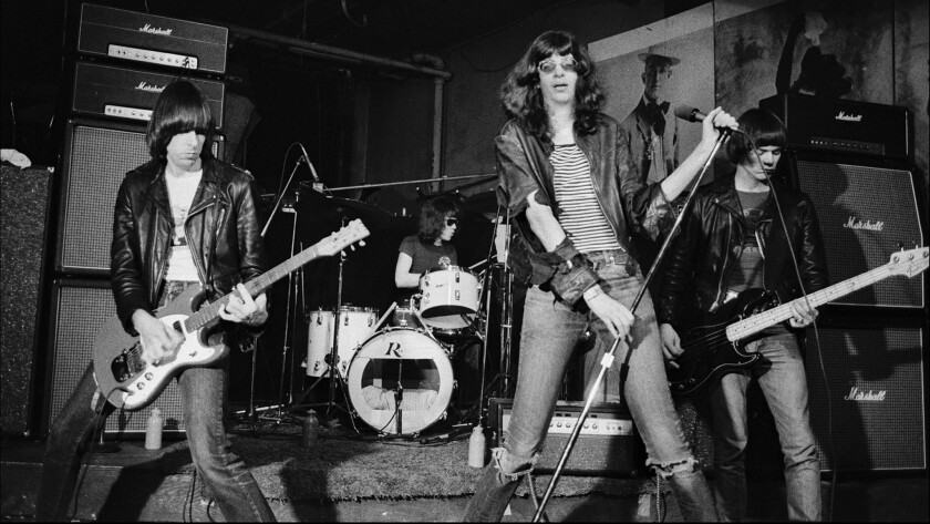 """The Ramones play CBGBs in 1977. Dee Dee, far right, told some of the best stories in """"Please Kill Me."""""""