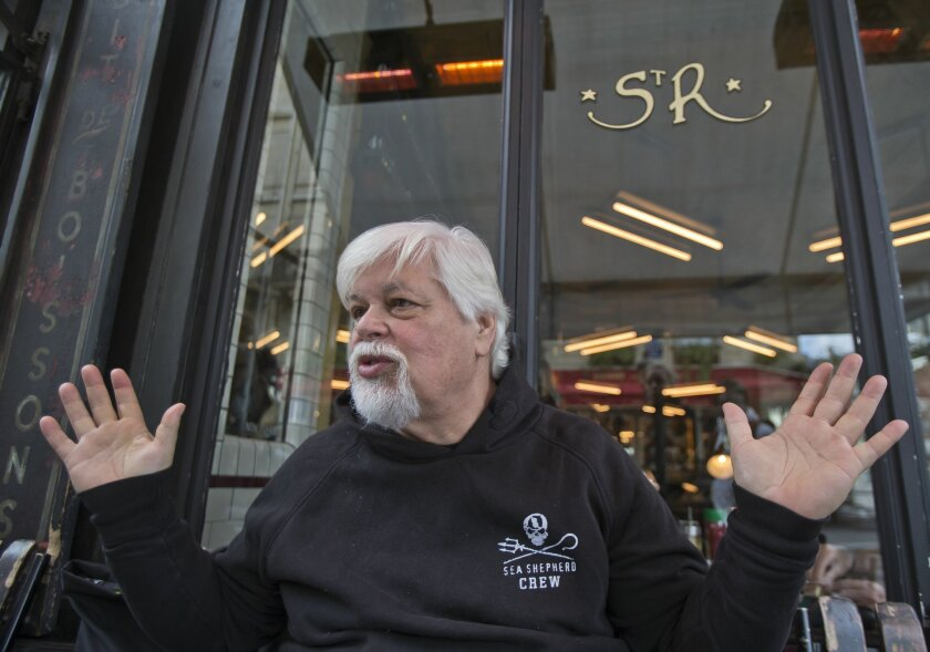 FOR STORY SLUGGED FRANCE PAUL WATSON - Canadian captain Paul Watson speaks with the Associated-Press in Paris, Tuesday, April 12, 2016.  Founder  of Greenpeace and the controversial Sea Shepherd, anti-whaling activist Watson has a long history of confronting governments, and is on Interpol's intern