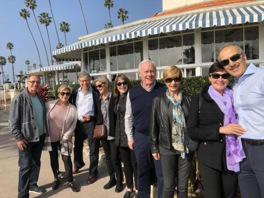 At the Las Brisas Restaurant in Laguna Beach are Lev and Galina Evrenson, Michael Dershowitz, Chris Swenson, Nancy Pfleg, Ralf Swenson, Eleanor Shorter, Andrea and Michael Dershowitz.