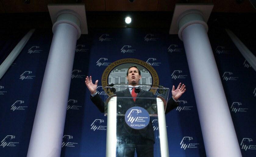 Rick Santorum speaks during the Republican Jewish Coalition 2012 Presidential Candidates Forum Dec. 7, 2011 at Ronald Reagan Building and International Center in Washington.