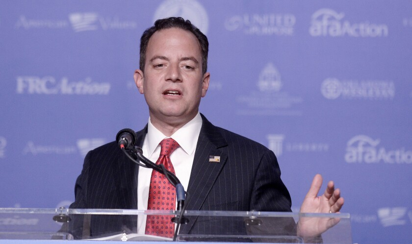 Reince Priebus, chairman of the Republican National Committee, speaks at the 11th annual Values Voter Summit on Sept. 9, 2016, in Washington, D.C.
