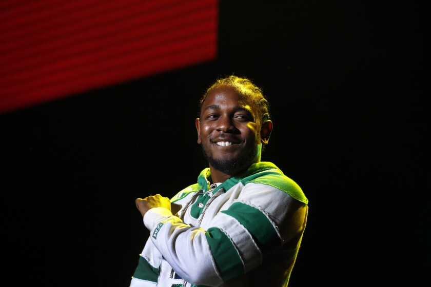 Kendrick Lamar performs at the Forum in Inglewood on Sunday, Nov. 8.
