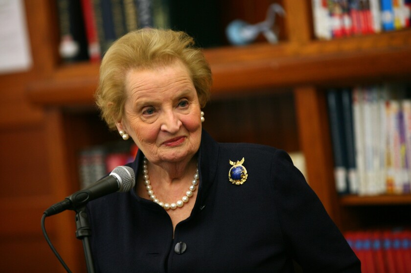 Former Secretary of State Madeleine Albright meets with students in Chicago on April 10, 2012.