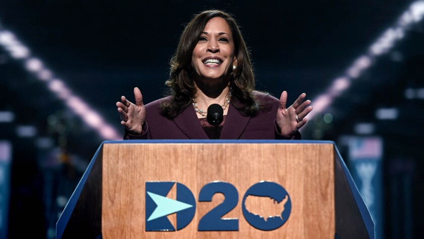 Sen. Kamala Harris accepts the nomination for vice president at the Democratic National Convention on Wednesday night.