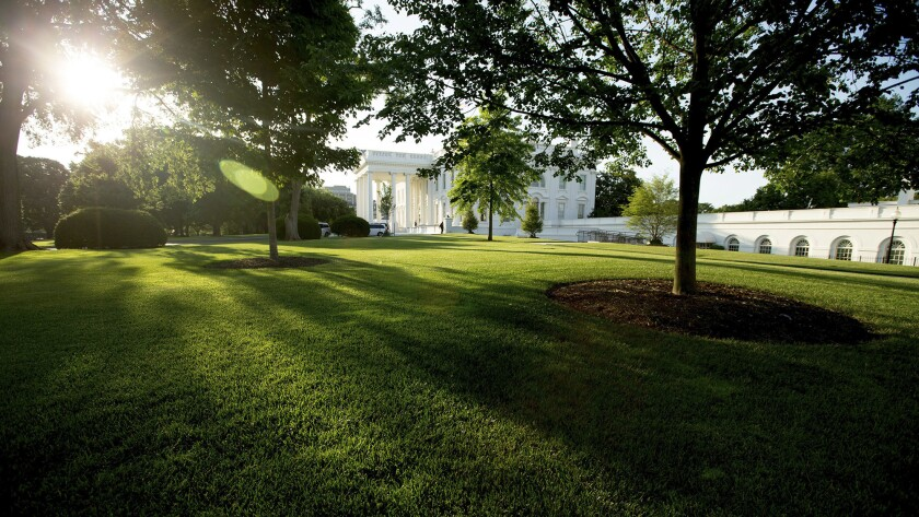 The sun rises over the White House in Washington, D.C. on June 11, 2016.