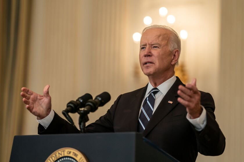 President Biden at the White House Thursday announcing new rules for private businesses with 100 or more employees.