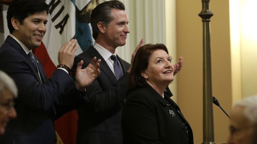 A new Democratic supermajority will be enjoyed by Senate President Pro Tem Toni Atkins (D-San Diego), shown after she was sworn in as the new Senate leader in March. To her left is current Gov.-elect Gavin Newsom, and, far left, Sen. Kevin de León, D-Los Angeles.