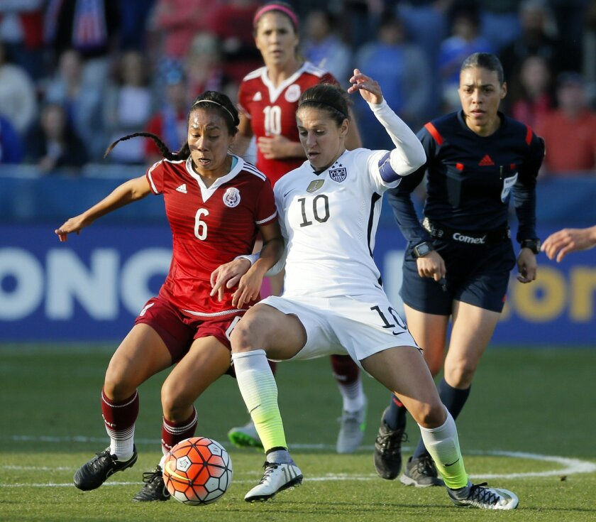 Mexico midfielder Karla Nieto (6) and United States midfielder Carli Lloyd (10) compete for control of the ball in the second half of a CONCACAF Olympic qualifying tournament soccer match, Saturday, Feb. 13, 2016, in Frisco, Texas. The U.S. won 1-0. (AP Photo/Tony Gutierrez)