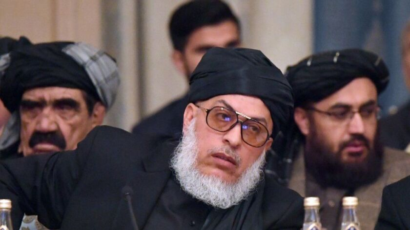 Taliban spokesman Mohammad Abbas Stanikzai attends the opening of two-day talks involving the Taliban and Afghan opposition representatives in Moscow on Feb. 5, 2019.