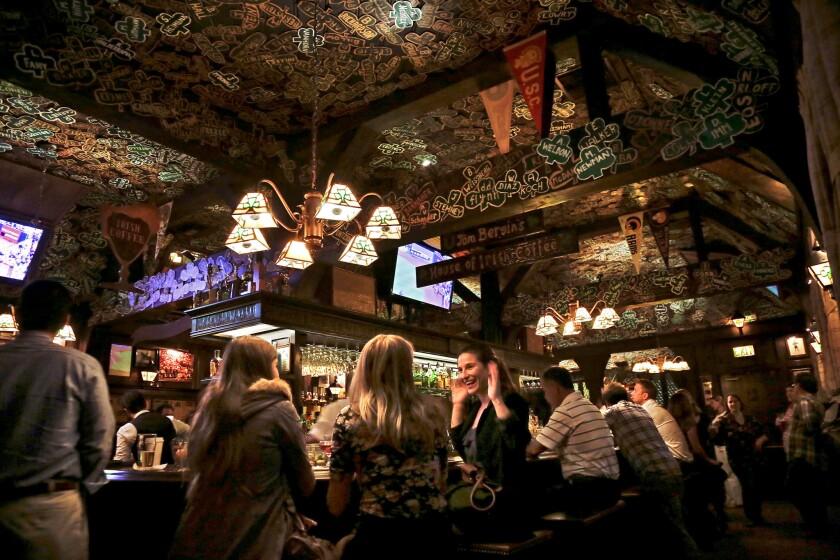 LOS ANGELES, CA - OCTOBER 19, 2012 - Bar area in TOM BERGIN's Irish pub, on Fairfax Blvd., October 1