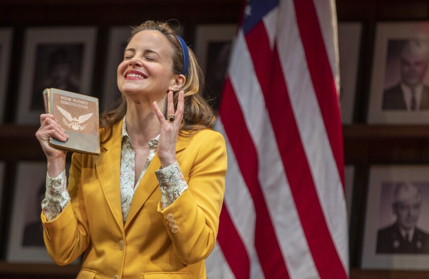 """Maria Dizzia takes on the role of Heidi Schreck in """"What the Constitution Means to Me"""" at the Mark Taper Forum in Los Angeles."""