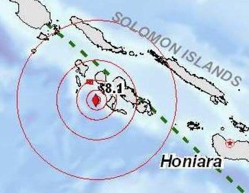 Area where the 8.1 quake struck.