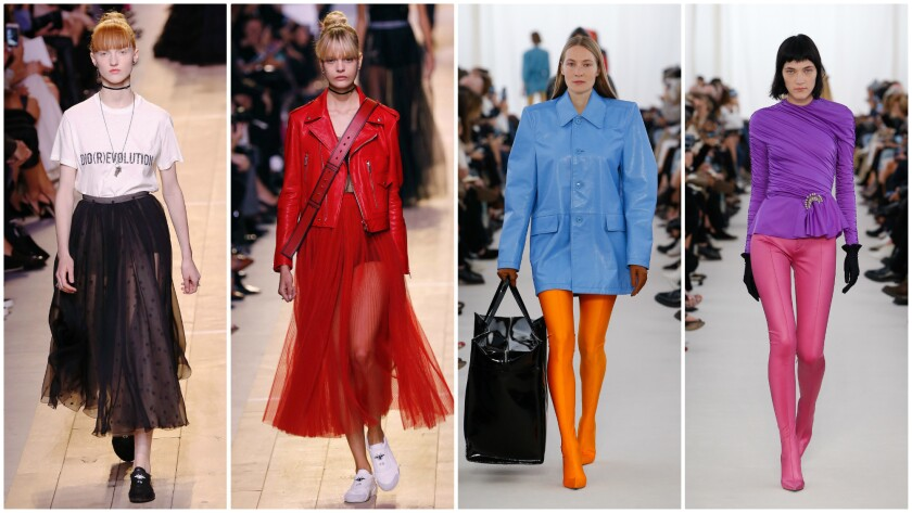 A closer look at feminism at Dior (left and second from left) and strong-shouldered couture-meets-fetishism at Balenciaga (right and second from right).