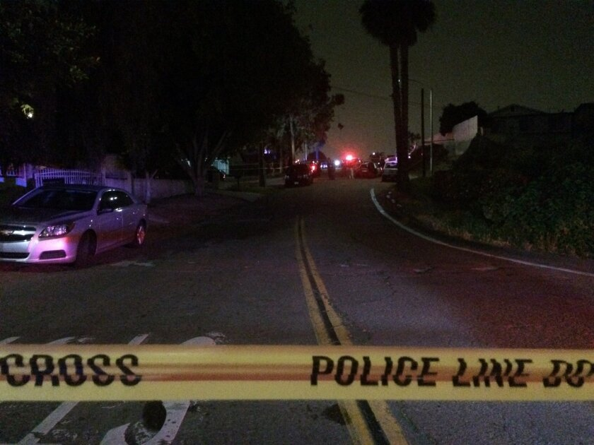 San Diego police cordoned off roads after fatally shooting a man on Benson Avenue in Encanto Wednesday night.