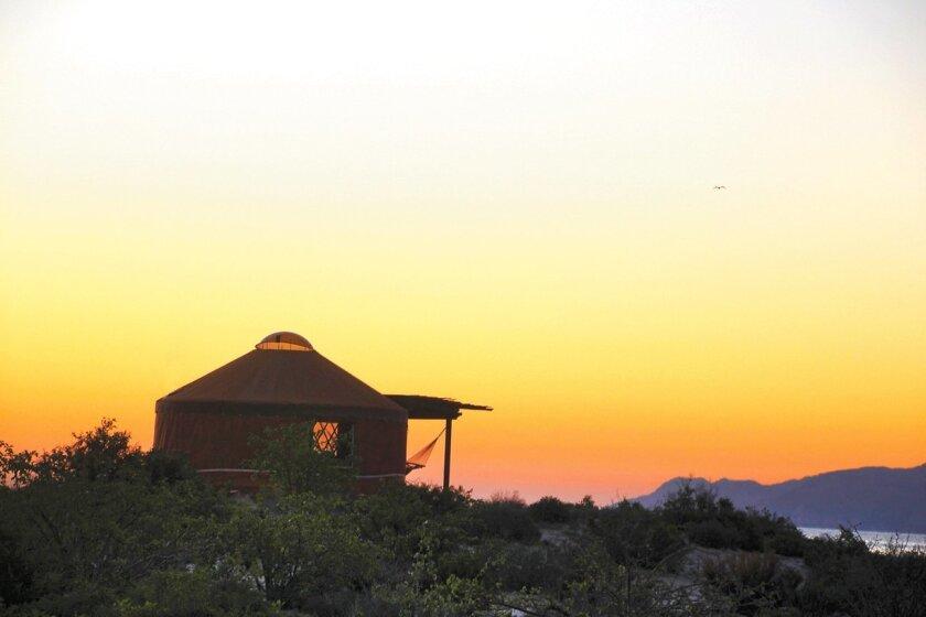 A yurt overlooks Bahia de los Angeles at Las Animas Wilderness Lodge.