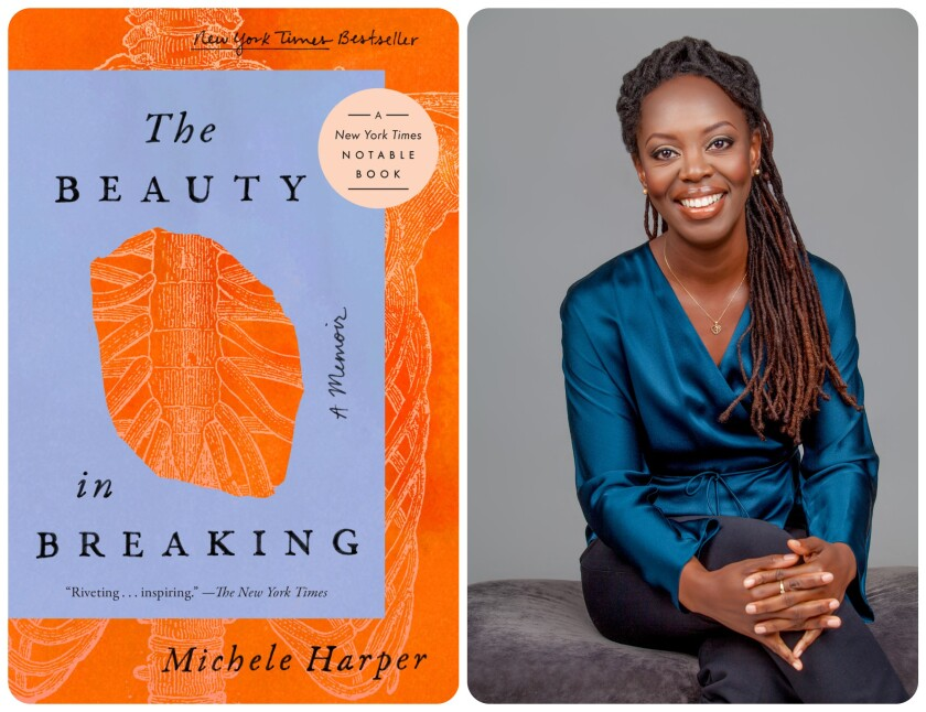 """The cover of """"The Beauty in Breaking"""" and author Michele Harper."""