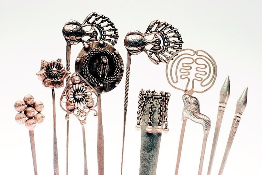 "These Chinese silver hair picks from the collection of Bea Roberts are featured in ""Vanishing Traditions,"" an exhibit opening April 2 at the William D. Cannon Art Gallery in Carlsbad."