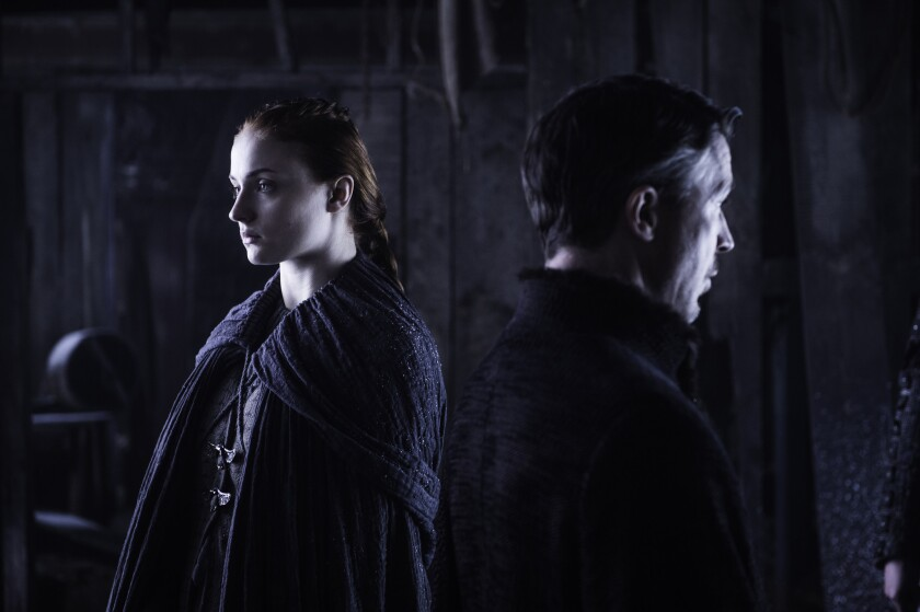 Sophie Turner as Sansa Stark and Aidan Gillen (Petyr Baelish a.k.a. Littlefinger) on 'Game of Thrones.'