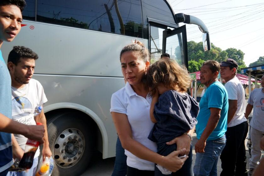 Migrants in Ciudad Hidalgo, Mexico.