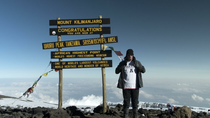 Troy Shumway, 20, of Carmel Valley, photographed in June on the summit of Mt. Kilimanjaro, Africa's tallest peak.