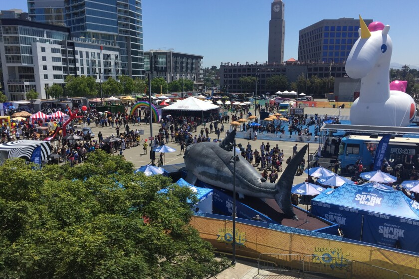 A view of the Petco Park Interactive Zone from the Harbor Drive pedestrian bridge on Saturday, July 19.