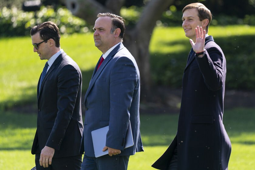 White House aide Nick Luna, from left, social media director Dan Scavino and Jared Kushner, Trump's son-in-law.