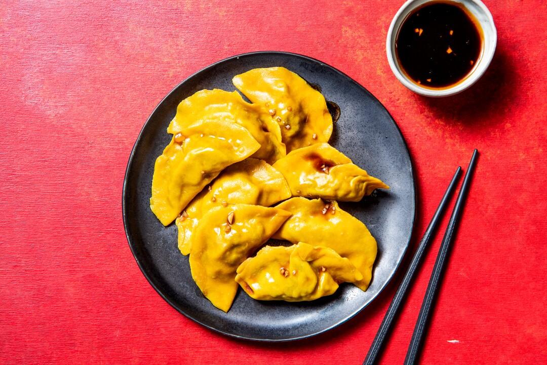 Vegan Shiitake Jiaozi With Black Vinegar Dipping Sauce