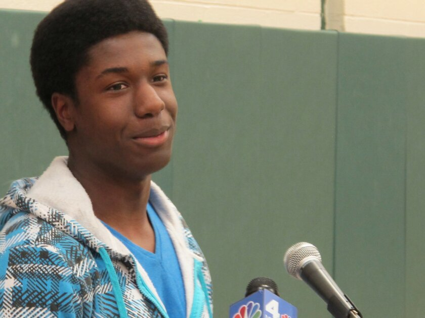 Kwasi Enin speaks at a news conference at William Floyd High School in Mastic Beach, N.Y., on Wednesday, April 30, 2014. Enin, who was accepted into all eight Ivy League colleges, announced he will attend Yale University in the fall. Enin says he wants to study medicine. His parents are both nurses