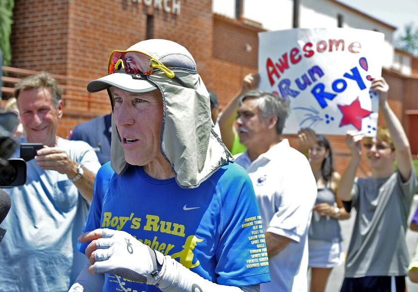 Burbank resident Roy Wiegand runs part of his 80 mile journey from Anaheim through Burbank to Santa Clarita in 2014.
