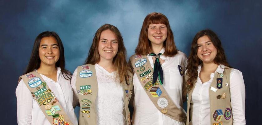 Kayla Nitahara, Lydia Cosford, Zena Traganza and Lillian Wood recently earned the Girl Scout Gold Award.