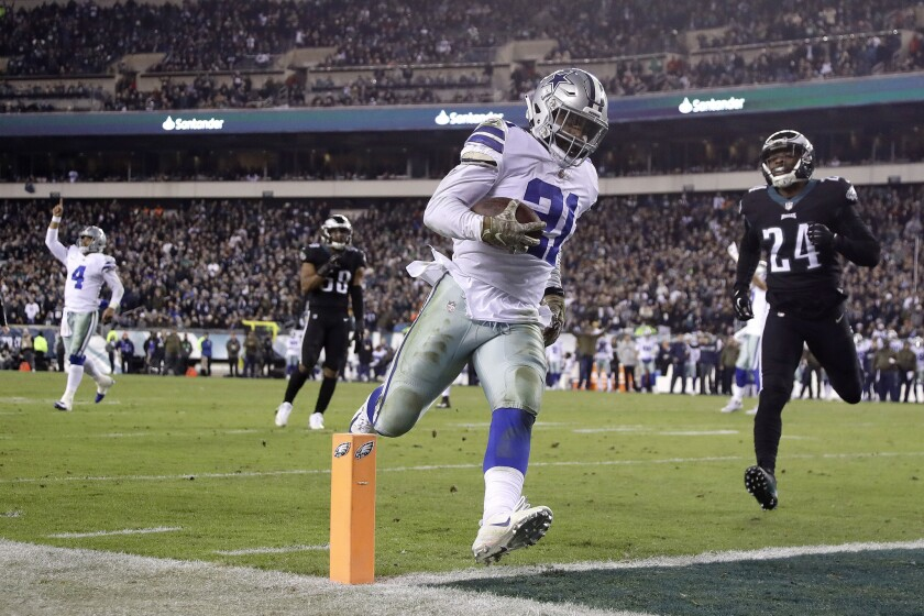 Running back Ezekiel Elliott is likely to carry a heavy workload when the Cowboys take on the Seahawks in Seattle on Saturday.