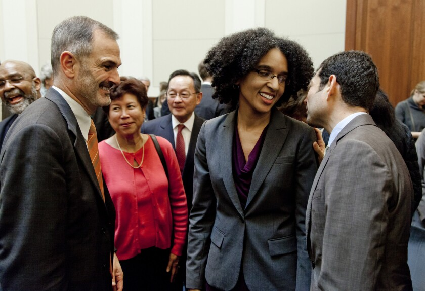 California Supreme Court Justices Leondra Kruger, center, and Mariano-Florentino Cuellar, right, provided the necessary votes to rehear a death penalty case.