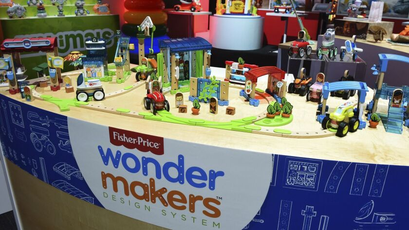 Mattel's Fisher-Price Wonder Makers toys are displayed at the New York Toy Fair on Feb. 15.