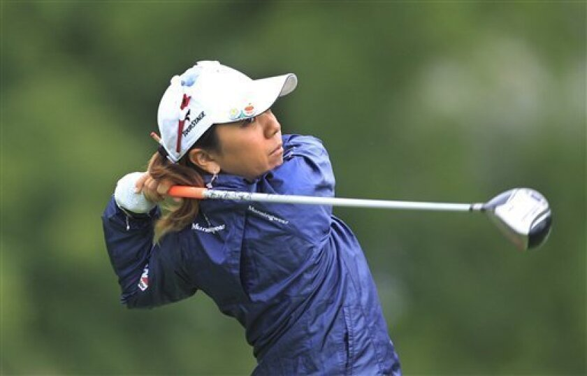 Mika Miyazato hits from the fifth tee box during the second round of the Jamie Farr Toledo Classic at the Highland Meadows Golf Club in Sylvania, Ohio, Friday, Aug. 10, 2012. (AP Photo/Carlos Osorio)