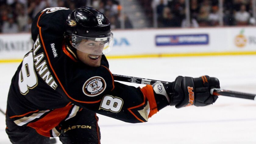 FILE - In this Oct. 21, 2011, file photo, Anaheim Ducks right wing Teemu Selanne, of Finland, takes