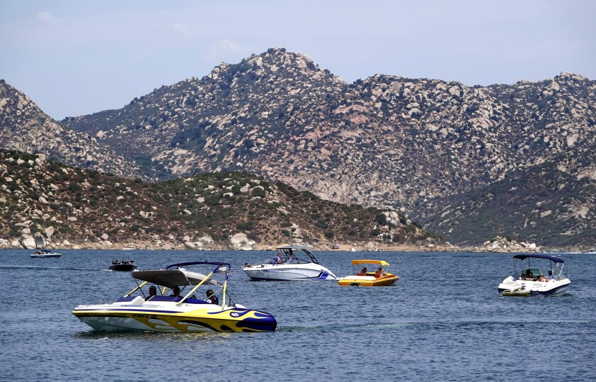 Boaters at San Vicente Reservoir on Sunday, Aug. 16, 2020 in San Diego, CA.