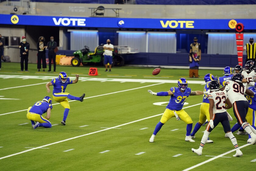 Samuel Sloman kicks a field goal for the Rams against the Chicago Bears on Oct. 26 at SoFi Stadium.