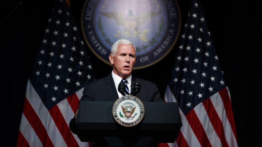 Vice President Mike Pence speaks during an event at the Pentagon on Aug. 9 on the creation of a United States space force.