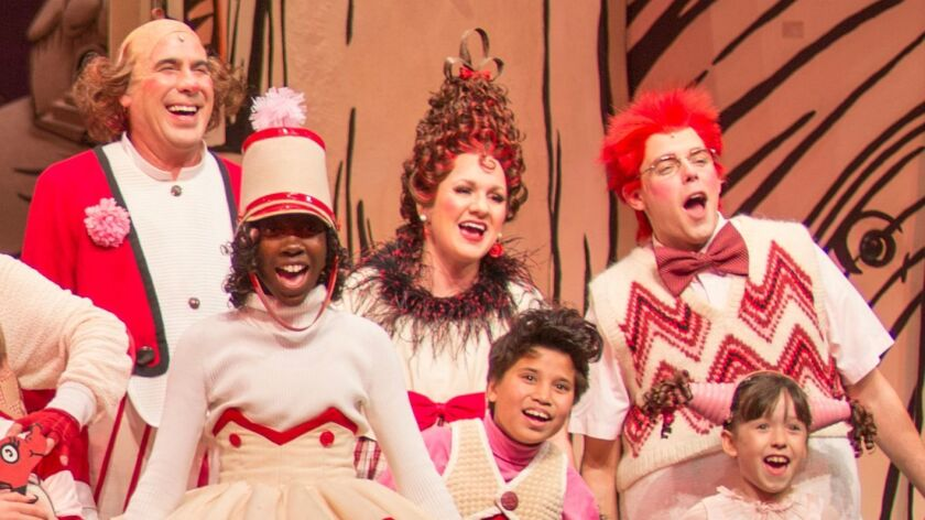 """Kyrsten Hafso-Koppman (center) in """"Dr. Seuss' How the Grinch Stole Christmas!"""" at the Old Globe."""