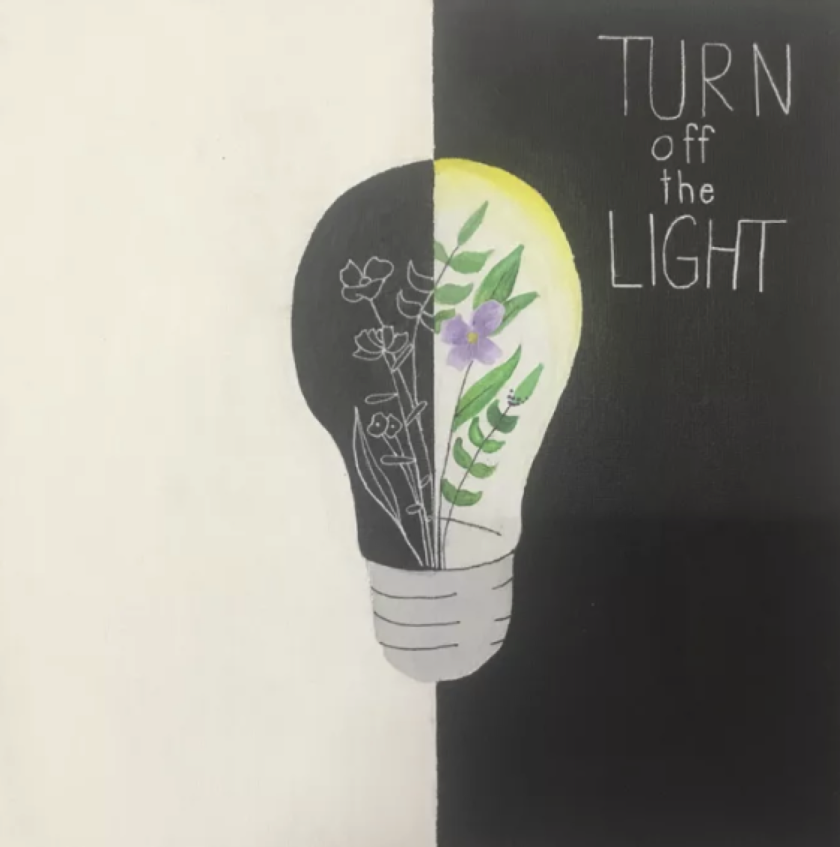 """""""Turn Off the Light"""" by Solana Pacific sixth-grader Anqi """"Cici"""" Mei is part of the Young Art 2021 exhibit."""