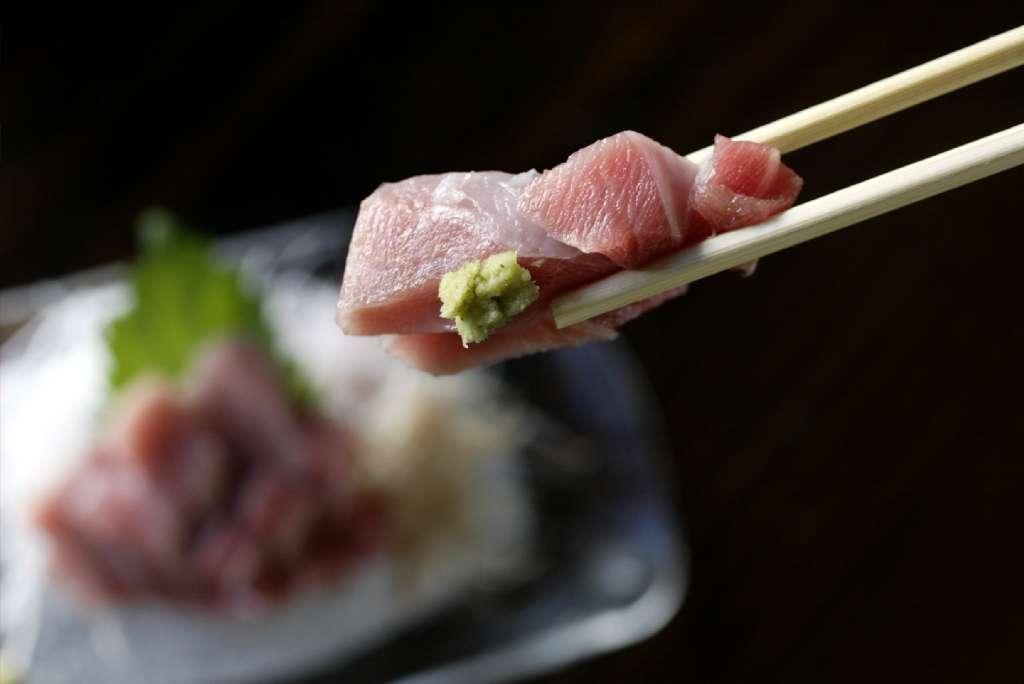 Fatty tunu with wasabi at Kiriko sushi bar.