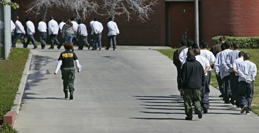 Inmates matching in the yard at Barry J. Nidorf Juvenile Hall in Sylmar in 2007.