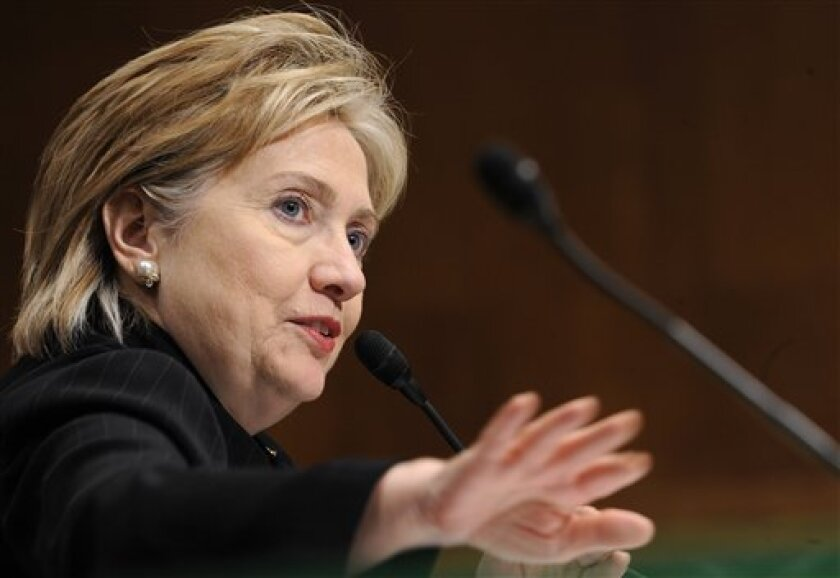 Secretary of State Hillary Rodham Clinton testifies before the Senate Appropriations Committee hearing on the FY2009 war supplemental on Capitol Hill in Washington, Thursday, April 30, 2009. (AP Photo/Susan Walsh)