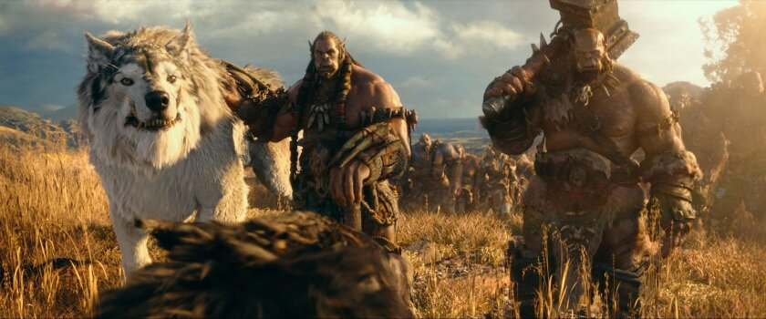 Durotan (TOBY KEBBELL) leads his Frostwolf alongside Orgrim (ROBERT KAZINSKY) in Legendary Pictures and Universal Pictures' Warcraft, an epic adventure of world-colliding conflict based on Blizzard Entertainment's global phenomenon.