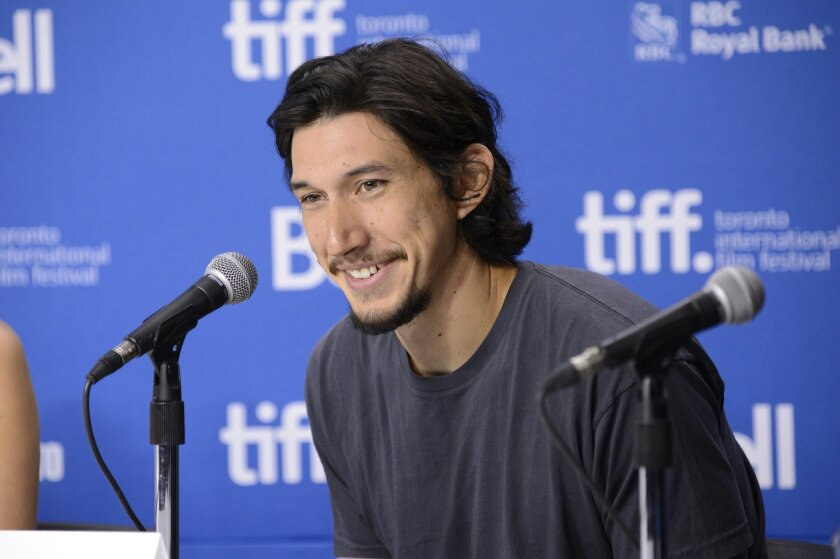 """FILE - In this Sept. 8, 2013 file photo, Adam Driver attends a news conference for """"The F Word"""" on day 4 of the Toronto International Film Festival in Toronto. The cast of """"Star Wars: Episode VII"""" was announced Tuesday, Aril 29, 2014, on the official """"Star Wars"""" website by Lucasfilm. Actors Oscar Isaac, Max von Sydow, John Boyega, Daisy Ridley, Domhnall Gleeson and Driver will be joining the cast. (Photo by Evan Agostini/Invision/AP, File)"""