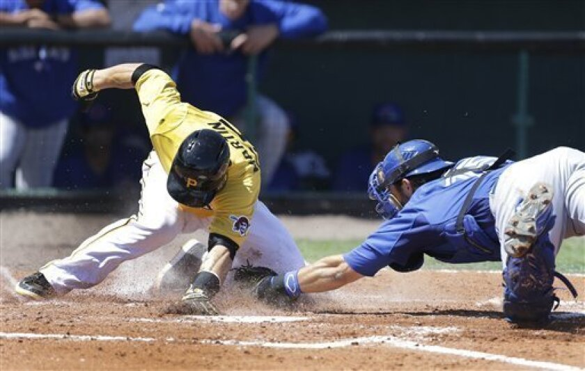 Toronto Blue Jays catcher Mike Nickeas tags out Pittsburgh Pirates runner Russell Martin during the third inning of an exhibition spring training baseball game, Wednesday, March 13, 2013 in Bradenton, Fla. (AP Photo/Carlos Osorio)